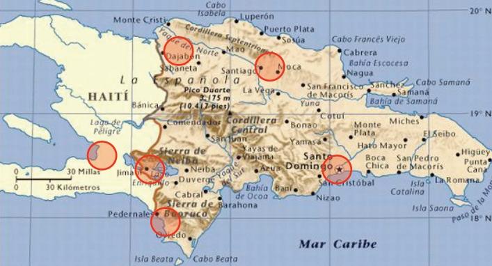 Mappa centri operativi rete popolare dominicana per aiuti ad Haiti
